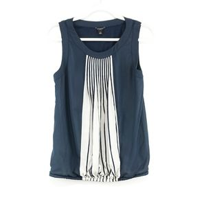 Banana Republic Navy and White pleated blouse